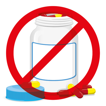 Illustration of object packing open bottle with capsules scattered with a forbidden sign on. cosmetic, medicine, supplement. Ideal for catalogs, information and catalogs 2D packaging Illustration