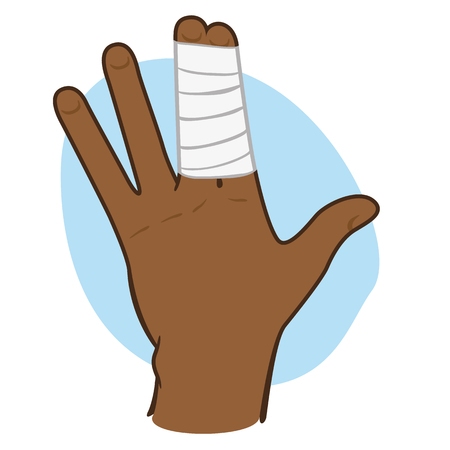 Illustration first aid hand with bandage on fingers, afro descent. Ideal for medical, informative and institutional catalogs Illustration
