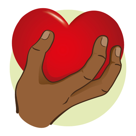 Illustration Hand holding a heart, afro descent. Ideal for institutional and romantic materials Illustration