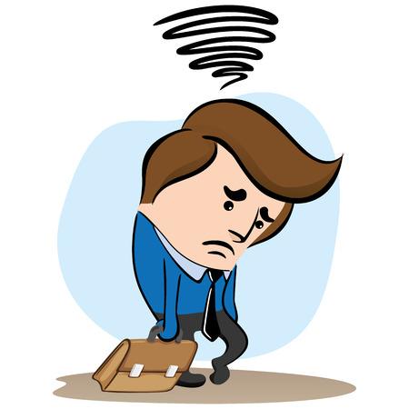 Illustration of a sad manager Vetores