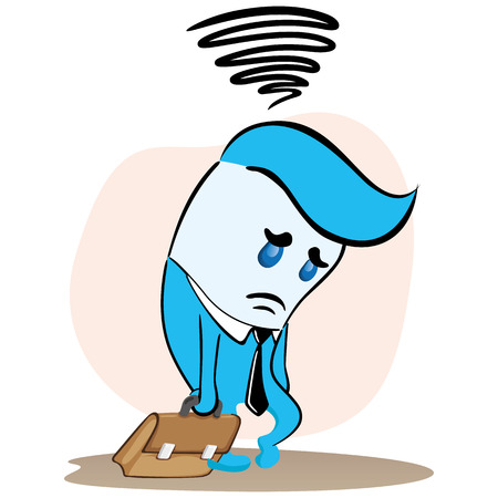 Illustration of an executive blue mascot, sad and depressed about something. Ideal for training, internal and institutional matters