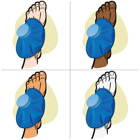 Illustration of firs aid person ethnicity, foot with thermal bag, puperior vision. Ideal for catalogs, information and medicine guides