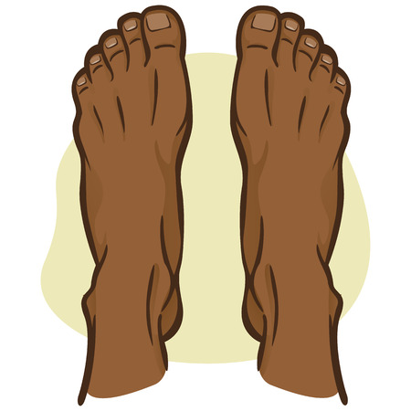 Illustration person, pair of human feet, afro descending, top view. Ideal for catalogs, informational and institutional guides 向量圖像