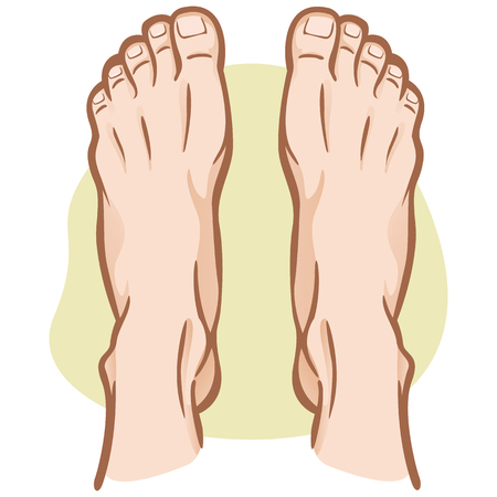 Illustration person, pair of human feet, Caucasian, top view. Ideal for catalogs, informational and institutional guides Çizim