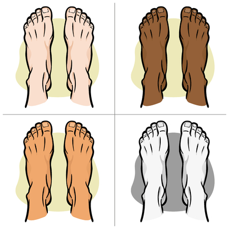 Illustration person, pair of human feet, ethnic, top view. Ideal for catalogs, informational and institutional guides Illustration