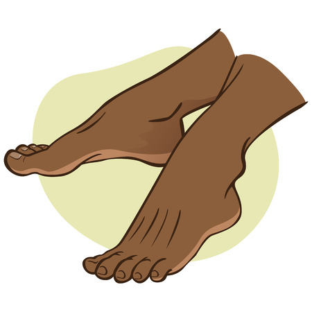 Illustration person, pair of human feet, afro descendant, side view. Ideal for catalogs, informational and institutional guides