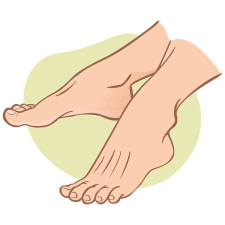 Illustration person, pair of human feet, caucasian, side view. Ideal for catalogs, informational and institutional guides Illustration