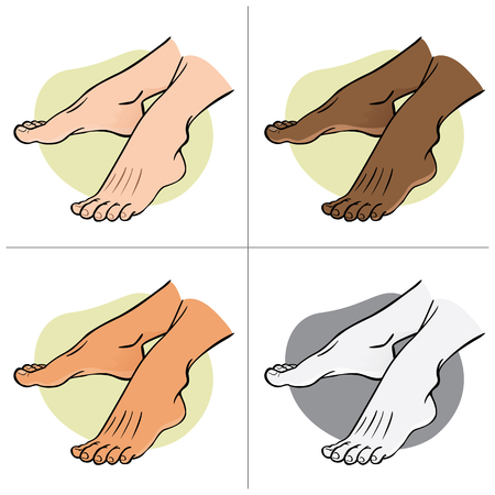 Illustration person, pair of human feet, ethnic, side view. Ideal for catalogs, informational and institutional guides