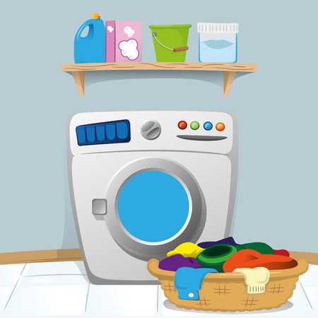 Illustration of a laundry room with washing machine and cleaning products on the shelf. Ideal for catalogs, information and institutional material