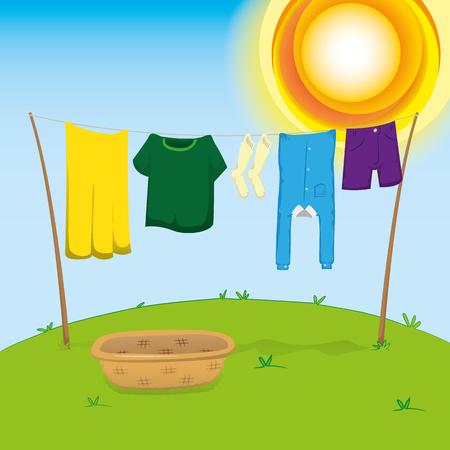 Illustratie van een externe omgeving, waslijn met kleren te strekken om te drogen. Ideaal voor catalogi, informatie en institutioneel materiaal Vector Illustratie