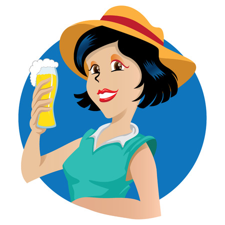 Young brunette woman holding a glass of beer. Ideal for promotional and educational materials Illustration