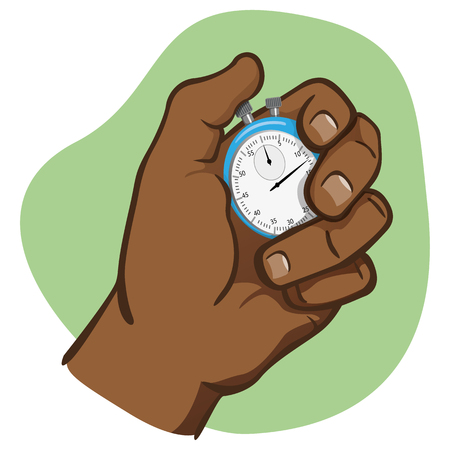Close body part, hand holding a stopwatch, timing, afro descent. Ideal for educational and institutional training materials