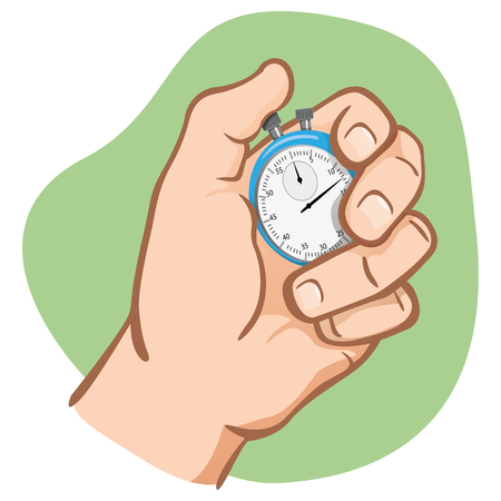 Close-up, hand holding a stopwatch, timing, caucasian. Ideal for educational and institutional training materials 일러스트
