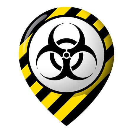 Icono que muestra la ubicación del riesgo biológico, la ubicación del producto y los desechos químicos, biológicos e infecciosos. Ideal para catálogos de materiales institucionales