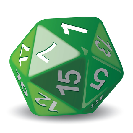 Illustration object given of 20 faces green, for role playing game, piece of game. Ideal for catalogs game instructions