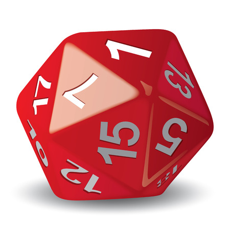Illustration object given of 20 faces red for role playing game piece of game ideal for catalogs game instructions