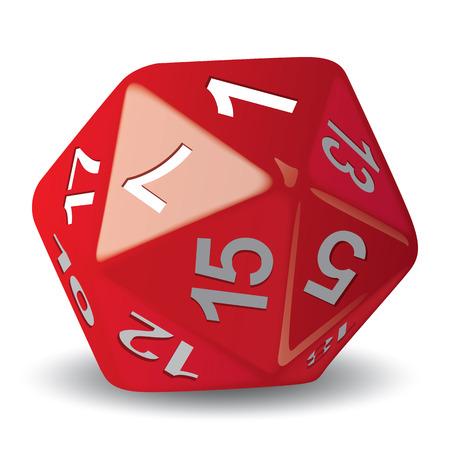 Objeto de ilustração dado de 20 rostos vermelhos para peça de jogo de RPG ideal para catálogos de instruções de jogo