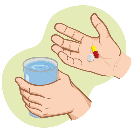 Illustration of hand holding medicines and other hand with glass of water, Caucasian. Ideal for catalogs, information and institutional material and health