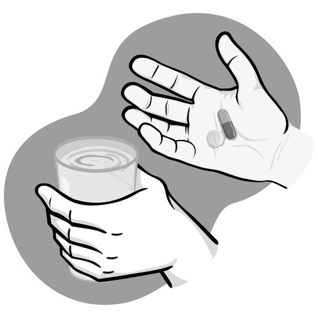 Illustration of hand holding medicines and other hand with glass of water, black and white. Ideal for catalogs, information and institutional material and health Illustration