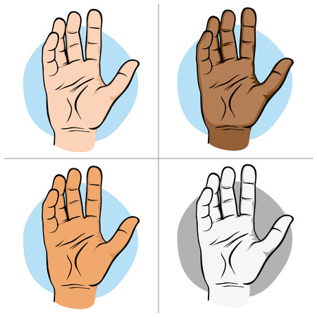 Illustration represents an open human hand with palm for sample, ethnics. Ideal for catalogs of institutional material Illustration