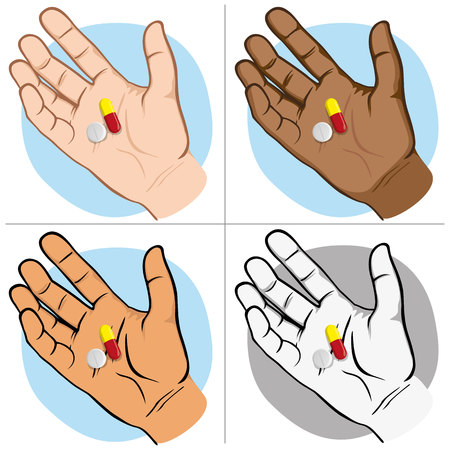 Illustration represents an open hand with medicines in the palm of the sample, ethnics. Ideal for catalogs of institutional and medical material
