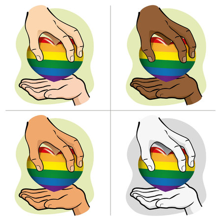 Illustration hand handing the rainbow heart to another, ethnics. Ideal for institutional and LGBT romantic materials