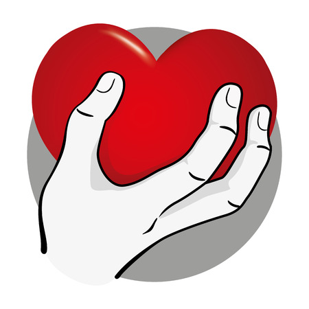 Illustration Hand delivering a heart, black and white. Ideal for institutional and romantic materials Ilustração