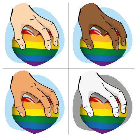 Illustration Hand picking up a rainbow heart, ethnics. Ideal for institutional and romantic materials and LGBT flag