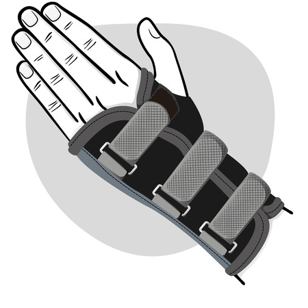 Illustration represents a hand with wrist, tendinitis, black and white. Ideal for training and institutional materials