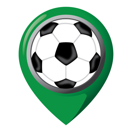 Icon representing location with soccer ball, place of games, teams and equipment. Ideal for catalogs of institutional materials and sporting events. Illustration