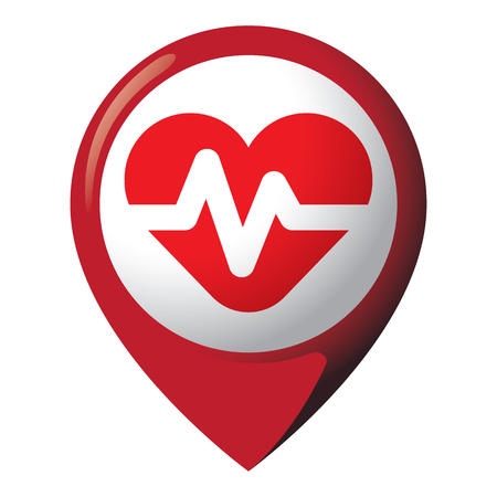 Icon Representing Location With Heart With Electrocardiogram ...