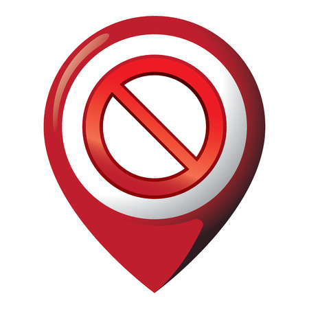 Icon representing location with forbidden sign. Ideal for catalogs of institutional materials