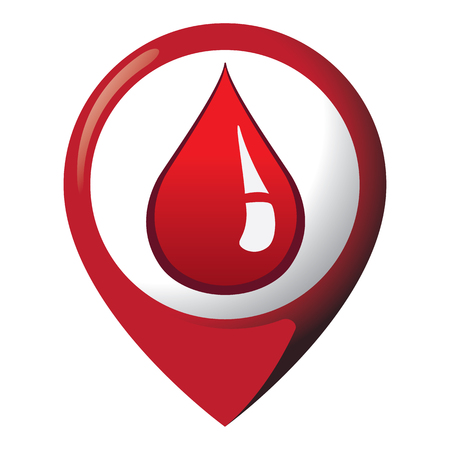 Icon representing location with drop of blood, place of blood donation. Ideal for catalogs of institutional materials