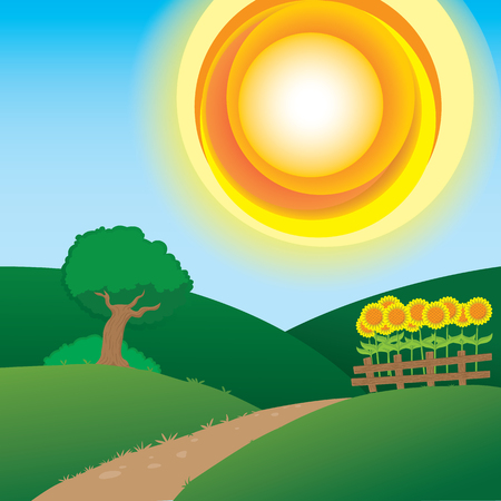 Illustration of an environment, countryside landscape in summer. Ideal for catalogs, information and institutional material