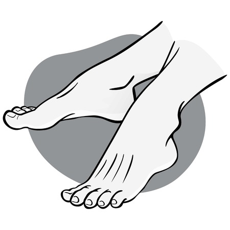 Illustration person, pair of human feet, black and white, side view. Ideal for catalogs, informational and institutional guides