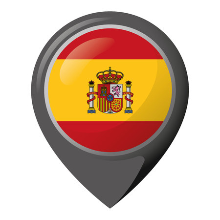 Icon representing location pin with the flag of Spain. Ideal for catalogs of institutional materials and geography