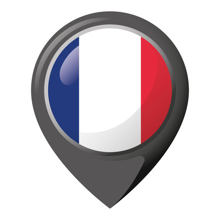 Icon representing location with the flag of France. Ideal for catalogs of institutional materials and geography. 일러스트