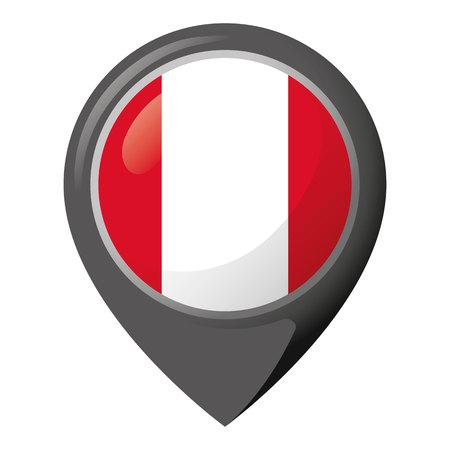 Icon representing the flag of Peru. Illustration