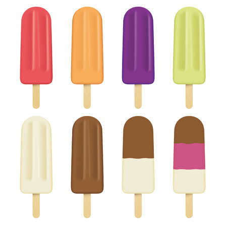 Illustration of a stick of ice cream, different flavors, several stick. Ideal for catalogs, information and institutional material Illustration