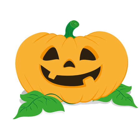 Icon of a pumpkin head with a smiling face, halloween ornament celebration. Ideal for catalogs of institutional materials Illustration