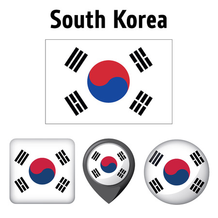 Illustration of South Korea, and various icons. Ideal for catalogs of institutional materials and geography