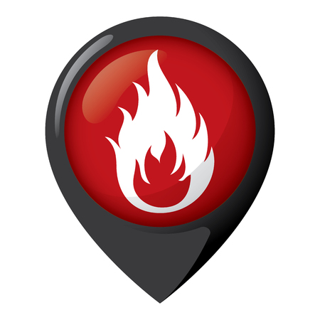 Icon representing location of fire, place of flame. Ideal for catalogs of institutional materials.