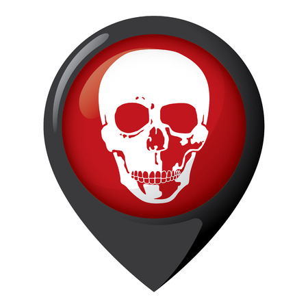 Illustration of location icon with a skull head, dangerous place.