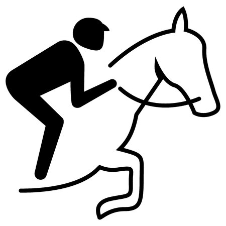 Illustration represents sport pictogram equestrian, jump mode with obstacle. Ideal for sports and institutional materials.