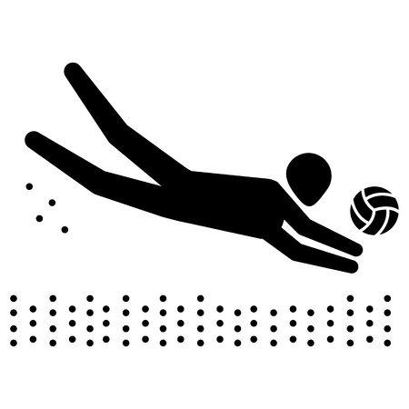 Illustration depicts pictogram of beach volleyball sport, game of doubles. Ideal for sports and institutional materials. Çizim