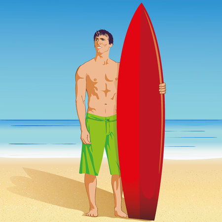 Illustration of surfer holding surfboard on a tropical beach, water sport. Ideal for sports and institutional materials.