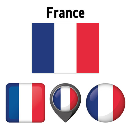 Illustration flag of France, and several icons. Ideal for catalogs of institutional materials and geography. Çizim
