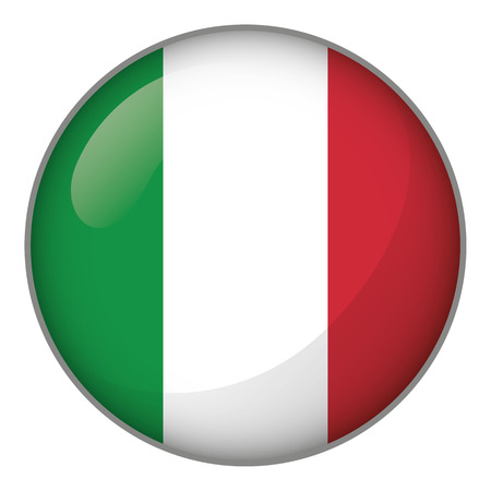 Icon representing round button Italy flag. Ideal for catalogs of institutional materials and geography