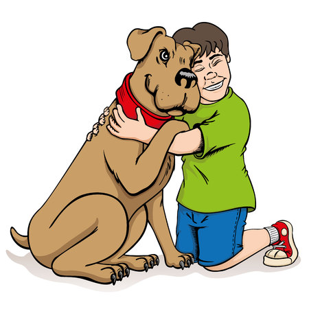 Illustration of a child hugging a dog. Best friends. Ideal for visual communication, informational and institutional and veterinary material