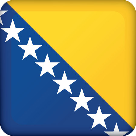 Icon representing Bosnia square button. Ideal for catalogs of institutional materials and geography